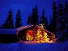 Image result for snow cabin christmas