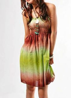 Bohemian dress with great beading.