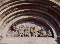 Adoration of the Magi, Master of the Months of Ferrara, doorway lunette relief decoration, Basilica Abbey of Saint Mercurialis, Forli, Emilia-Romagna. Italy, 12th century.,