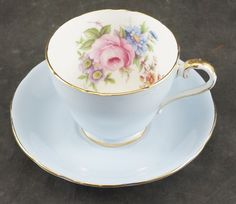 AYNSLEY Fine Bone China Cup and Saucer Blue with FLOWERS in the Bowl by RarebirdAntiques on Etsy