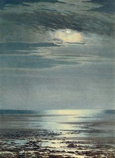 JAMES THOMAS WATTS (1853-1930)   MOONLIGHT ON THE COAST   SIGNED 'JAMES T WATTS' (LOWER LEFT) AND FURTHER SIGNED AND INSCRIBED 'NO 4/MOONLIGHT ON THE COAST/BY JAMES T. WATTS/84 MYRTLE ST/LIVERPOOL' (ON ARTIST'S LABEL ATTACHED TO THE BACKBOARD)  WATERCOLOUR HEIGHTENED WITH WHITE   16 X 12 IN. (40.7 X 30.5 CM.)  gbp688 Watercolor Night Sky, Night Sky Painting, Moonlight Painting, Watercolor Water, Water Pictures, Water Pics, James Thomas, Forest Art, Dark Forest