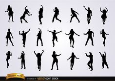 Free Vector Stock Set of 21 dancing silhouettes, the figures are making movements in different styles of dancing like they were in a big party. Perfect designs to use in any promo for parties, dancing classes, or dancing events.Under Commons 3.0. Attribution License.