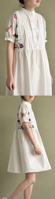 2017 white embroidery wrinkled cotton sundress oversize casual dresses
