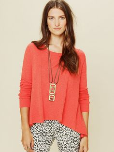 Free People Long Sleeve Boxy Lace Back Pullover