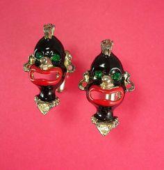 Blackamoor cufflinks Vintage enamel black by NeatstuffAntiques