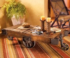 I really want a railroad cart coffee table, I'll have to keep my eyes open for one when i am antique shopping
