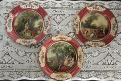 This is a set of 3 vintage Lipton Tea advertising tin plates, they are 8 around. Each one is a beautiful lithograph, they were made in France, each depicting a different season.  Lancret - L`automne (autumn), Lancret - L`ete` (summer), Lancret - Le printemps (spring). There is some minor scratches and wear but they are not rusty. Please look at the photos closely and convo me with any questions or if you would like more photos. These were previously owned and are as is as found...