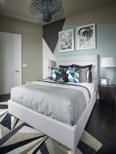 Bold geometric patterns, luxurious materials, and a striking design make this guest bedroom a stylish and comfortable haven for visitors.