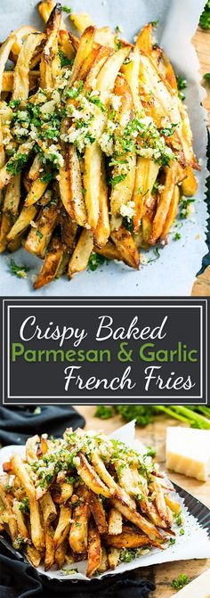 Extra crispy Parmesan garlic fries are baked in the oven, instead of fried, for a healthier french fry recipe! Top them off with a Parmesan, garlic and parsley coating for the ultimate gluten-free and vegetarian side dish recipe. French Fries Recipe Baked, French Fries In Oven, Garlic French Fries, Crispy French Fries, Air Fryer French Fries, French Fries With Cheese, Air Fryer Fries, Healthy French Fries, Healthy Fries