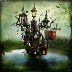 Steampunked fairy village ~ Old Moss Woman's Secret Garden