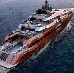 Beautiful red mega yacht they should of painted GREEN for the color of money. www.batsbirdsyard.com = Bat Houses.