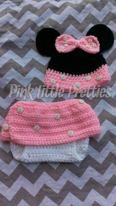 Newborn Minnie Mouse Crochet Set by PinkLittlePretties2 on Etsy, $25.00