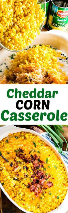 Cheddar Corn Casserole with crumbled bacon- only 10 minutes of prep time! In partnership with Del Monte. #ad #10MinuteWow