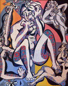 Alfred Pellan. Canada (1906 - 1988). Quatre Femmes « Four Women », 1944–1947. Oil on canvas. 208.4 x 167.8 cm. A 71 27 P 1. © Estate of Alfred Pellan / SODRAC (2012). Photo: Patrick Altman, Musée national des beaux-arts du Québec. Lent by: Musée d'art contemporain de Montréal, Montréal to 100 Masters: Only in Canada at the @Vicki Kerfoot Art Gallery May 11 - Aug 18, 2013.