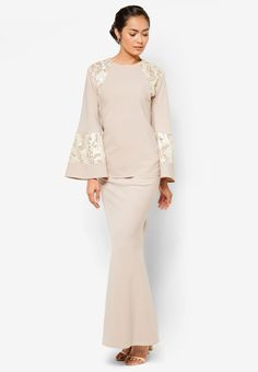Buy emel x Liyana Jasmay Leah Baju Kurung Online Baju Kurung Lace, Hijab Fashionista, Modest Wear, Muslim Fashion, Traditional Outfits, Designer Dresses, Peplum Dress, Kebaya Hijab, Bridesmaid Dresses