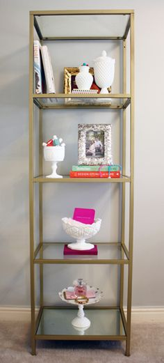 IKEA Shelving Unit Spray Painted Gold I have these shelves. Ikea Shelving Unit, Corner Shelving, Painted Shelving, Gold Shelves, Billy Regal, Gold Etagere, Diy Casa, Creation Deco, Interior Design