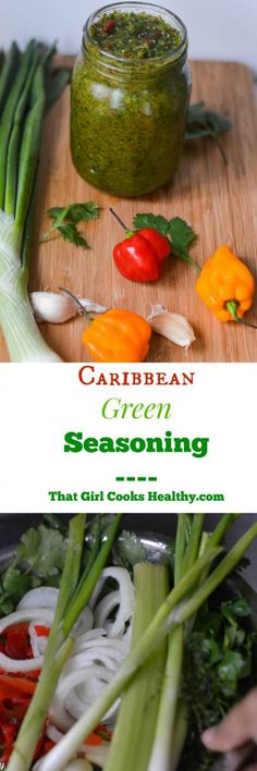 Strictly Caribbean Green Seasoning - That Girl Cooks Healthy Haitian Food Recipes, Jamaican Recipes, Indian Food Recipes, Jamaican Meme, Jamaican Cuisine, Jamaican Dishes, Carribean Food, Caribbean Recipes, Healthy Cooking