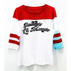 Daddy's Lil Monster Raglan 3/4 Sleeves T Shirt Harley Quinn Suicide... ($15) ❤ liked on Polyvore featuring tops, t-shirts, raglan sleeve shirts, three quarter sleeve shirts, raglan sleeve t shirts, raglan tee and raglan t shirt
