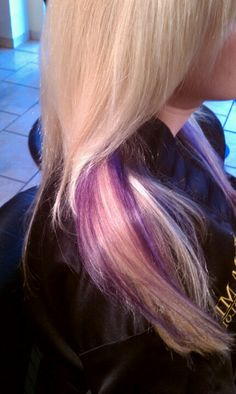 Purple hair, blonde with purple pieces. Hair by Jessica @ MFX in Austin, TX