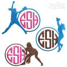 Softball Monogram Embroidery Frames