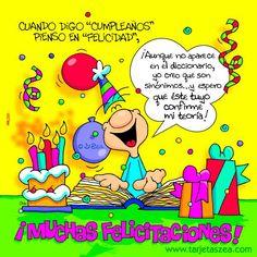 Sinónimos... Friend Birthday, Happy Birthday, Birthday Stuff, Happy B Day, Birthday Cards, Feelings, Comics, Facebook, Google