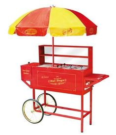 HOT DOG CART STAND RETRO CARNIVAL VENDING WAGON PORTABLE FOOD STATION GRILL NEW