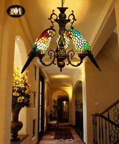 hanging vintage lamp cage stained glass - Google Search