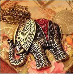 Stunning charming Red Rhinestone Elephant Shaped style necklace - USA FREE SHIPPING
