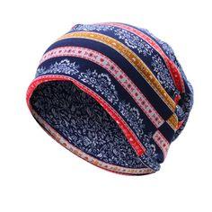 Women Flowers Printing Cotton Beanies Cap Casual Warm Bonnet Hat Double Use  Collar Scarf - Banggood 23cd47d15477