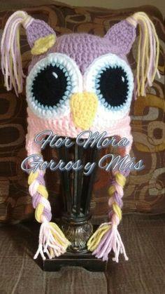 Hat crochet owl girl. Gorro tejido de buho, niña.