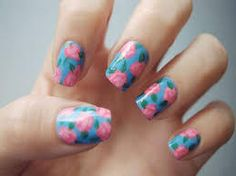 Blue Nails with Pink Flowers