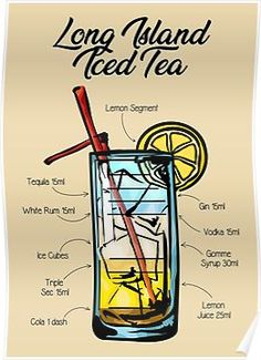 'Long Island Iced Tea Cocktail Recipe' Poster by HuckleberryArts Iced Tea Cocktails, Cocktail Recipes, Cocktail Drinks, Iced Tea Recipes, Mixed Drinks Alcohol, Alcohol Drink Recipes, Long Island Iced Tea Recipe, Bar Drinks, Alcoholic Drinks