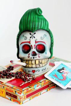 Rockabilly Sugar Skull. - by ManBakesCake @ CakesDecor.com - cake decorating website