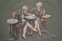 Titolo :Les filles au cafè pastello dell'artista  Ruggiero Bignardi http://lacortedifelsina.oneminutesite.it