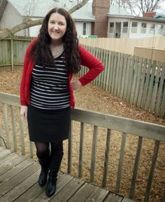 Just Another Smith: #28 - red cardigan, black/white striped tee, black pencil skirt, black boots, white beaded necklace