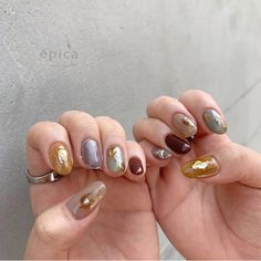épica by ruccaさん. Minimalist Nails, Cute Nails, Pretty Nails, Hair And Nails, My Nails, Nail Manicure, Nail Polish, Korea Nail, Kawaii Nails