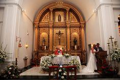 Church Wedding ceremony at Santo Domingo church in Benalmadena Pueblo, Spain.