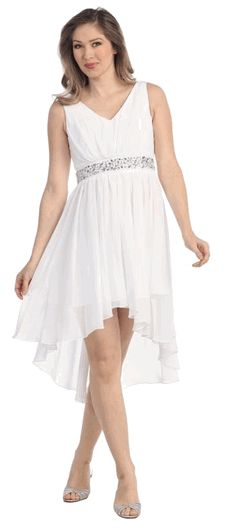 White High-Low V-Neck Chiffon Special Occasion Dress (3-colors XS to 3XL) #whitedresses #specialoccasiondress #formalwear