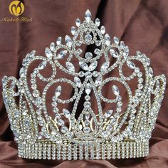 Fantastic Tiara Hair Diadem Full Round Gold Crown Clear Austrian Rhinestone Wedding Bridal Miss Pageant Party Costume Royal Crowns, Tiaras And Crowns, Rhinestone Wedding, Crystal Wedding, Crystal Rhinestone, Gold Crown, Crown Jewels, Miss Pageant, Pageant Crowns
