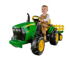 The Peg Perego John Deere Ground Force Tractor with Traileris a fantastic ride-on toy that integrates a four wheel drive electric tractor with a full size detachable trailer.  A cool feature of  The Peg Perego John Deere Ground Force Tractor is the FM Radio. Kids can listen to their favorite tunes while enjoying driving their very own tractor!  The tractor has an adjustable seat with moveable armrests and 4wd tires