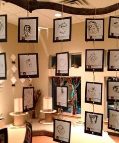 Inspired: Hanging Art Reggio Emilia inspired classrooms and projects.using wire/bent paper clips?Reggio Emilia inspired classrooms and projects.using wire/bent paper clips? Classroom Setting, Classroom Design, Classroom Displays, Art Classroom, Classroom Ideas, Hanging Classroom Decorations, Classroom Family Tree, Primary School Displays, Classroom Language