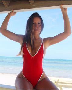 Floralkini Contrast Trim Plunge Neck Backness One Piece Swimsuit