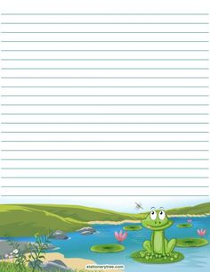Printable frog stationery and writing paper. Multiple versions available with or. Printable frog s Stationary Printable, Printable Lined Paper, Free Printable, Printable Frames, Diy Paper, Paper Crafts, Coloring Books, Coloring Pages, Write My Paper