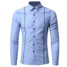 Men Shirt Autumn Business Slim Fit Dress shirt Long sleeves Casual Shirt Size M-3XL