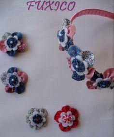 fuxico - cerchietto per capelli con fiori in stoffa