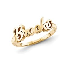 Habib Gold Plated Sterling Silver Script Letters Name Ring. yellow gold plated sterling silver ring is made to order with the name or single word of your choice. Engrave up to nine letters, numbers or symbols. Name Rings, Cluster Necklace, Delicate Jewelry, Diamond Sizes, Unique Necklaces, Personalized Jewelry, Sterling Silver Rings, Script, Letters