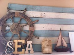 Ooh Kristen – more ideas for your front porch though I think we did something exactly like this already. Coastal, Beach + Nautical Decor + Interiors, Driftwood + Shell Decor, Crafts, Art + more: DIY Wood Pallet Decor Ideas Nautical Bedroom, Nautical Bathrooms, Nautical Home, Nautical Theme Decor, Vintage Nautical, Sea Theme Bathroom, Nautical Backdrop, Anchor Bathroom, Seaside Bathroom