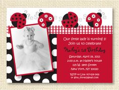 Red Ladybug Printable Birthday Invitation by LittlePrintsParties, $10.00