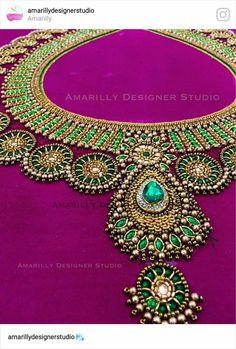 Kids Blouse Designs, Hand Work Blouse Design, Simple Blouse Designs, Stylish Blouse Design, Simple Designs, Pattu Saree Blouse Designs, Blouse Designs Silk, Bridal Blouse Designs, Hand Work Embroidery