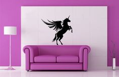 Unicorn Pegasus Horse with Wings Animal Flies Housewares Wall Vinyl Decal Art Design Murals Interior Modern Decor Sticker SV3632